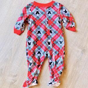 Disney Baby Christmas Footie Fleece Pajamas Plaid Fleece 12M